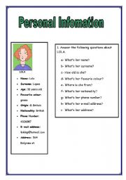 PERSONAL INFORMATION worksheet - Free ESL printable worksheets ...