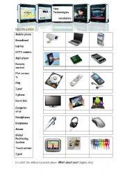 English Worksheet: new technology