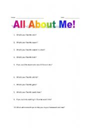 ... is a great ice breaker for the first day of school its a great way to