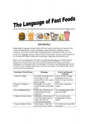 English Worksheet: English Used in Fast Food Restaurants - Customers/Workers - Introduction, vocabulary, explanations, example sentences, exercise and answer key