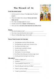 English worksheets: wizard of oz worksheets, page 2
