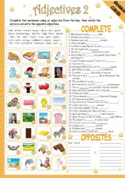 English Worksheets: ADJECTIVES 2/2