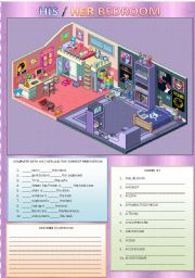 English Worksheet: HIS / HER BEDROOM