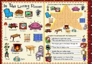 English Worksheet: Objects found in the living room - Pictionary and exercises