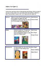English Worksheets: Art styles (part 1)
