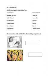 English Worksheets: Art styles (part 2)