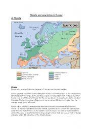 English Worksheet: Climate in Europe