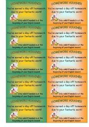 English Worksheets: homework voucher (1 of 2)