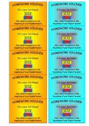 English Worksheets: homework voucher (2 of 2)