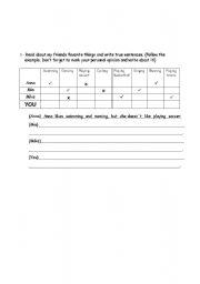 English Worksheets: actions chart