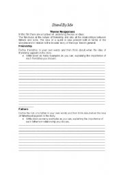 English Worksheets: Stand by Me and the roles of dads in young men coming of age
