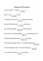 Printables Noun And Pronoun Worksheets english worksheets nouns and pronouns basic esl worksheet worksheet