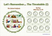 English Worksheet: Let´s Remember the Timetable (I) - FULLY EDITABLE (even the clocks!)