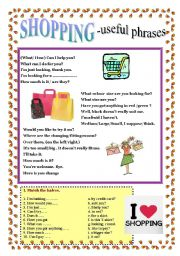 English Worksheets: SHOPPING - useful phrases