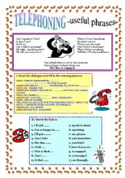 English Worksheet: TELEPHONING - useful phrases