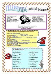 English Worksheets: TELEPHONING - useful phrases