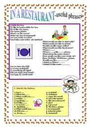 English Worksheet: IN A RESTAURANT - useful phrases