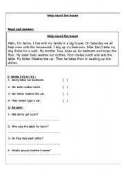 English Worksheets: Help around the house Reading Comprehension