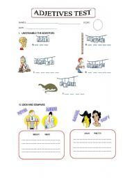 English worksheet: TEST ABOUT  ADJECTIVES - COMPARATIVE ADJECTIVES
