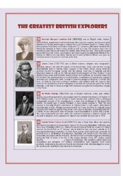 English Worksheets: The Greatest British Explorers