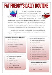 English Worksheets: FAT FREDDY�S DAILY ROUTINE