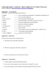 English Worksheet: Video Activity for GOOGLE: Best Company to Work For - a You Tube video
