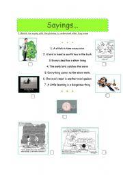 English Worksheets: Sayings...