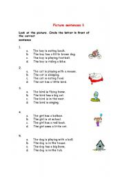 English Worksheets: picture sentence