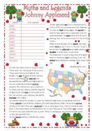 English Worksheets: JOHNNY APPLESEED - Myths & Legends series #2