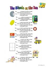 English Worksheet: The Wheels on the Bus - fill in the blanks