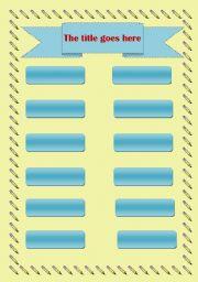 English worksheet: matching template