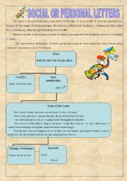 English Worksheet: SOCIAL OR PERSONAL LETTERS (WITH KEY)