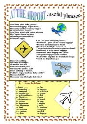 English Worksheets: AT THE AIRPORT - useful phrases