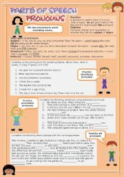 English Worksheet: Parts of speech (3) - pronouns (fully editable)