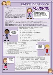 English Worksheet: Parts of speech (4) - Adverbs (fully editable)