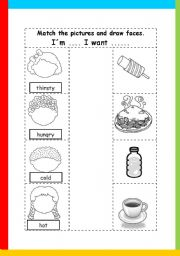 English Worksheet: adjectives and food items