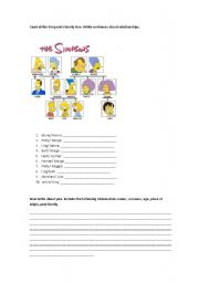 English worksheet: The Simpons family - family vocabulary - Possesives
