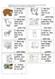 English Worksheet: Brown Bear Retell Popsicle Stick puppets