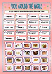 English Worksheet: FOOD AROUND THE WORLD/MATCHING