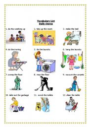 English Worksheet: Housework (Daily Chores) Help Around The House