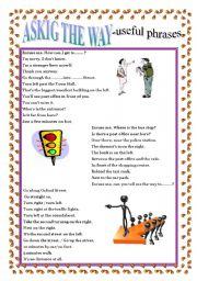 English Worksheet: ASKING THE WAY -  useful phrases