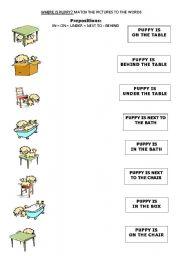 Worksheets Preposition Kindergarten Worksheets english teaching worksheets prepositions where is puppy 1