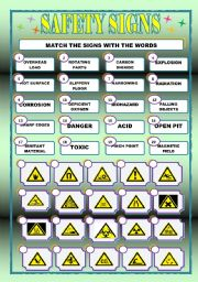 english worksheets safety signs matching. Black Bedroom Furniture Sets. Home Design Ideas