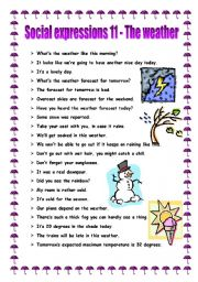 English worksheet: Social expressions 11 - the weather