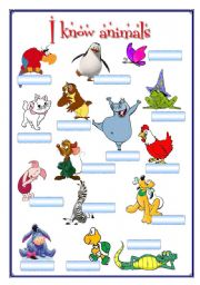 English Worksheet: Portfolio 6 (I know animals) 2 pages