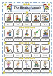 English Worksheet: ACTION VERBS - THE MISSING VOWELS - # 4