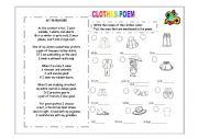 English Worksheet: Clothes poem