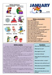 English Worksheet: January set 1/12 (talk, read, discuss)