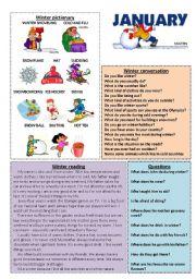 English Worksheets: January set 1/12 (talk, read, discuss)