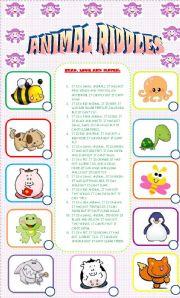 animal riddles matching activity esl worksheet by sa 89. Black Bedroom Furniture Sets. Home Design Ideas